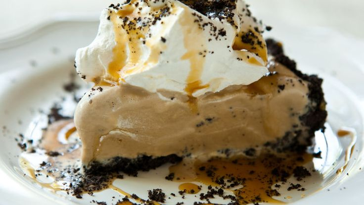 Irish crème and coffee-flavored liqueurs are added to this decadent, no-bake caramel-drizzled ice cream pie.