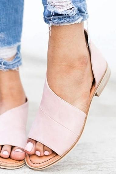 48ba2d521156 Women Peep Toe Side Cutout Flats-Shoes-BellanBlue.com