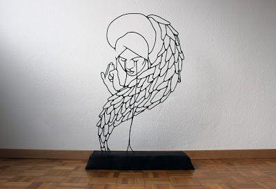 Gavin Worth y sus esculturas de alambre de acero (Angel Crying)