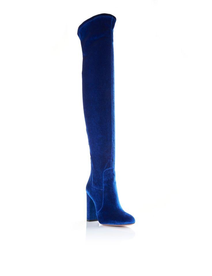 aquazzura overtheknee velvet thigh high 105 midnight blue