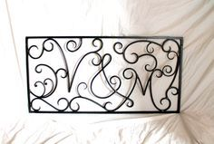 "GREAT ANNIVERSARY GIFT!! Hand Forged Iron Initials Rectangular Wall Art (40""wide X 20""tall) by VinTin on Etsy, $425.00"