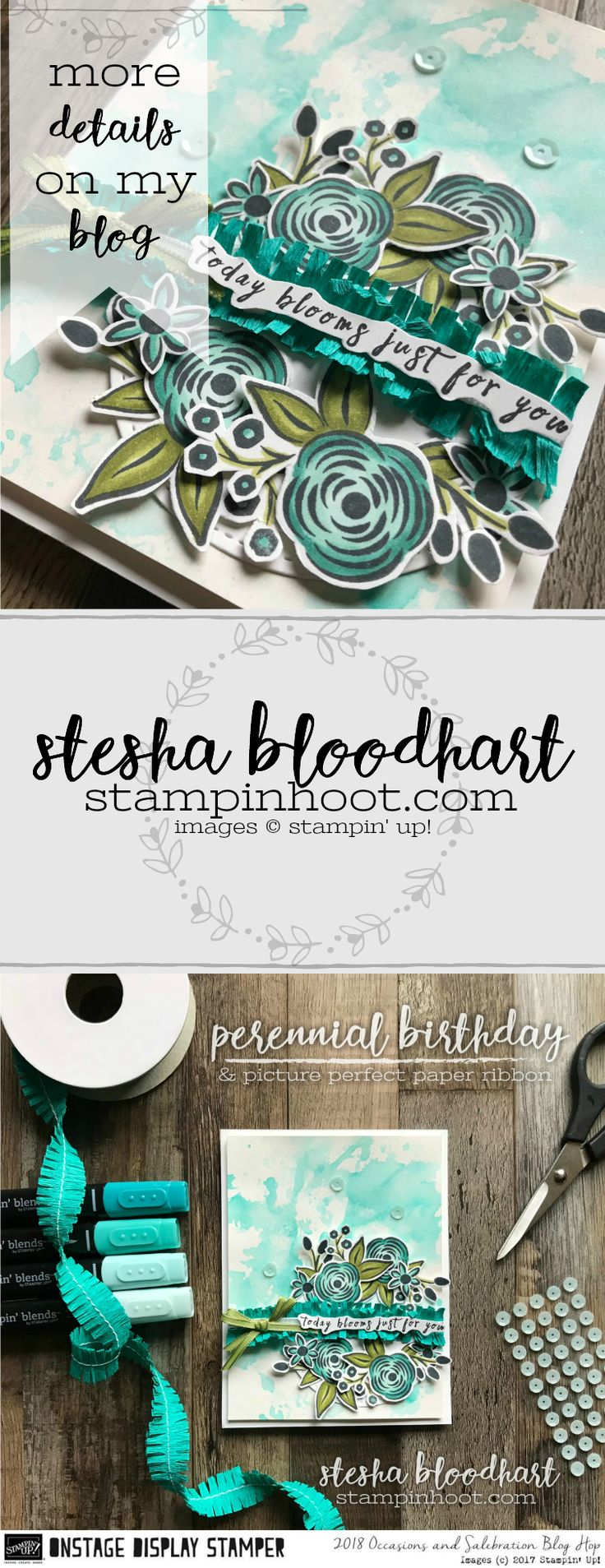 Perennial Birthday from the Stampin' Up! 2018 Occasions Catalog. Hop along with the rest of the Display Stampers for oodles of inspiration. #displaystamperbloghop #steshabloodhart #stampinhoot