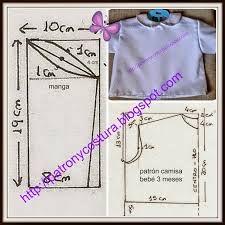 Resultado de imagen de patrones camisas batista recien nacido con medidas