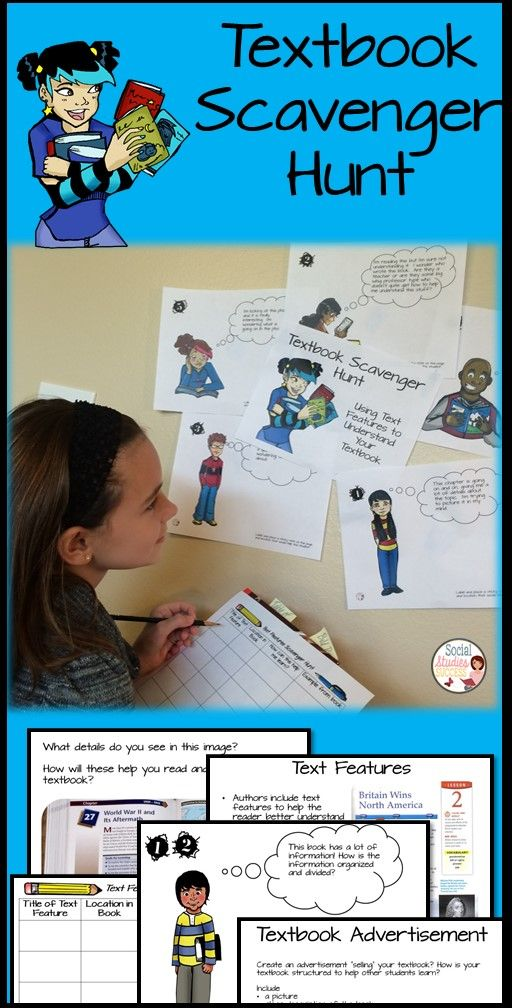 Start off the school year right with a scavenger hunt of your textbook. Students review text features as they learn about their textbook. Great for any subject!