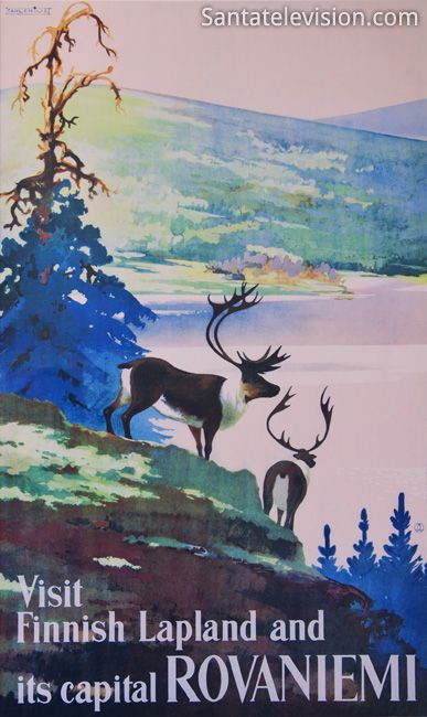 Old travel poster : Visit Finnish Lapland and its capital Rovaniemi
