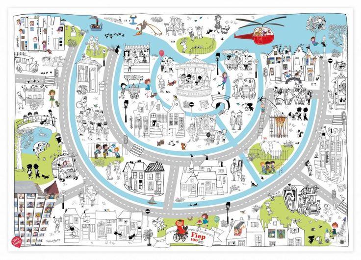 Grote kleurplaat met alle bekende karakters van Fiep Westendorp. Na het kleuren kun je ook nog eens geweldig goed spelen op deze gigantische speel- en kleurplaat van Very Mappy, € 12,95