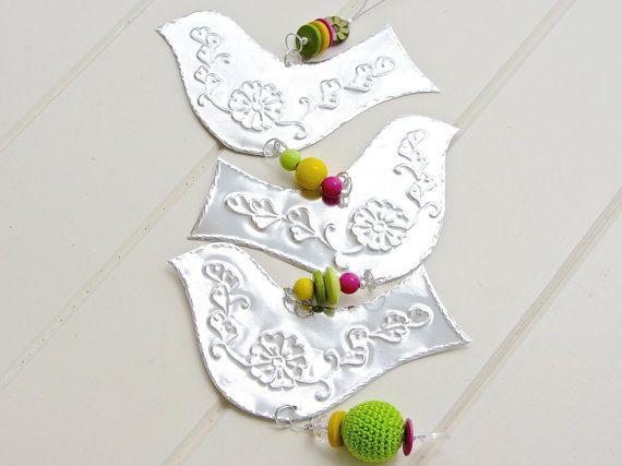 Tin bird mobile for Mya's room