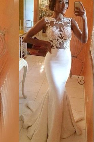 dress scoop neckline white dress ivory dress trumpet skirt tight lace dress zipper dress sleeveless court train mermaid prom dress