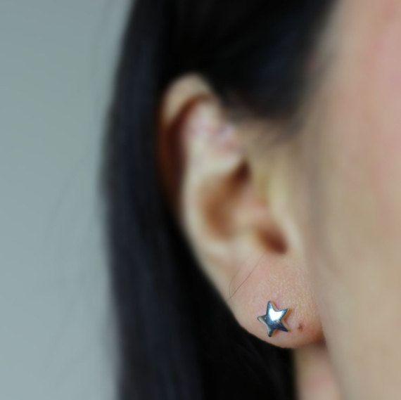 Star Stud Earring Sterling Silver Star Earring by Hesys on Etsy