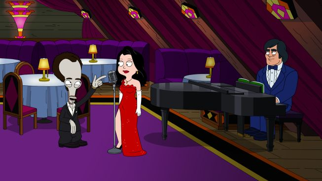 "Hayley sings at Roger's bar, and Roger falls in love with her. ""Love, American Dad Style"" season 9, episode 1 (First Aired: September 30, 2012)."