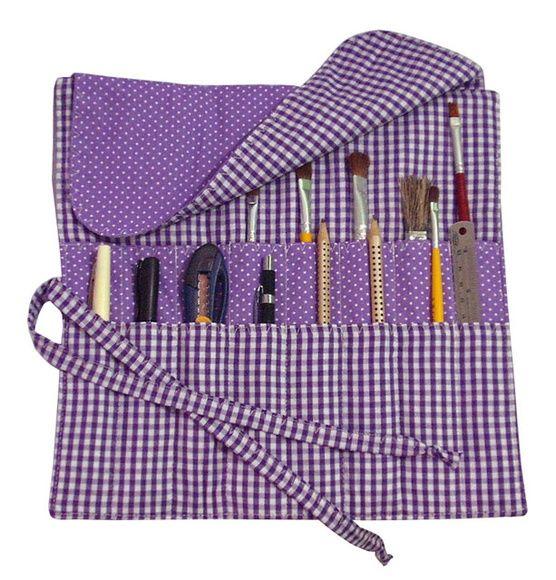 Organizador para pincéis e ferramentas ou pincéis para maquiagem.  Patchwork e Quilting - Tecidos 100% algodão  30 x 28 cm    * Pincéis e ferramentas não acompanham o organizador.  ** Consulte disponibilidade de cores
