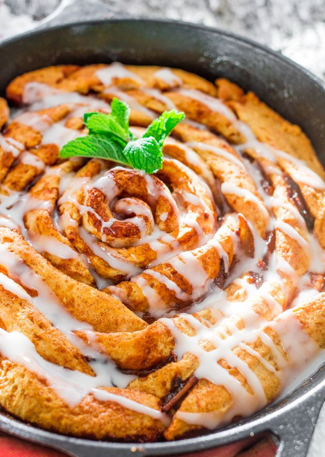 Giant Skillet Cinnamon Roll with Caramelized Pears