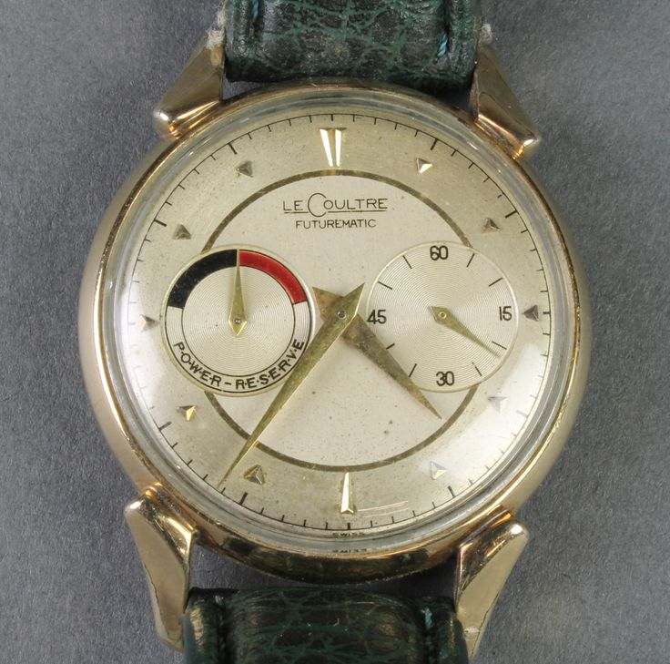 Lot 716, A gentleman's Le Coultre Futurematic gilt cased wristwatch with 2 subsidiary dials on a leather bracelet, est £800-900