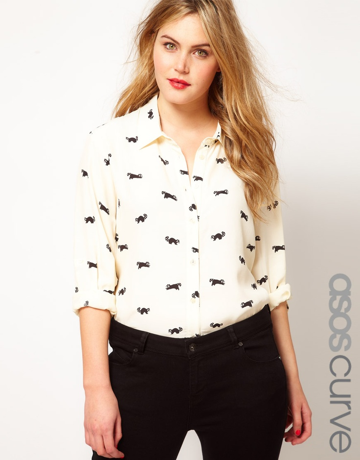 Omg obsessed. Racoon print top!: Plus Size Tops, Curves Raccoons, Shirts Collars, Curves Shirts, Asos Curves, Prints Blouses, Racoon Prints, Raccoons Prints, Fall Fashion