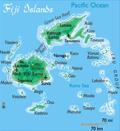 Fiji geography.. Map of the beautiful tropical islands. My brother and his wife stayed for a month and loved it!