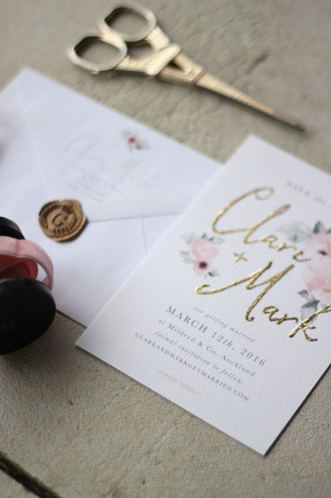 how to emboss wedding invitations diy%0A Just My Type Wedding Stationery and Wedding Invitation Design NZ Pretty  Floral Pink Gold Watercolour Roses