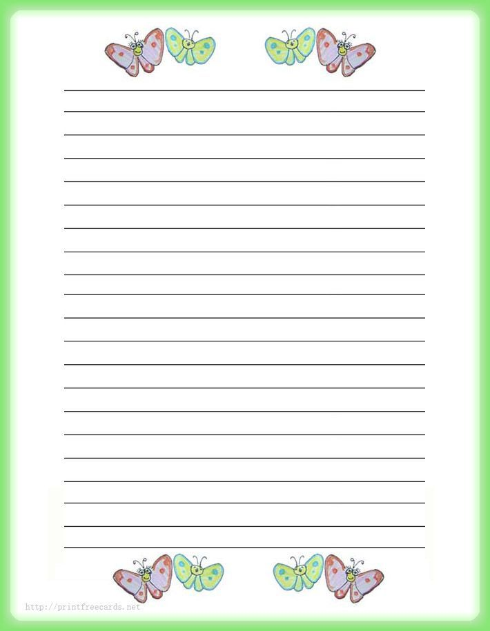 Butterflies Free Printable Stationery For Kids, Regular Lined Butterfly  Theme Free Printable Kids Writing Paper