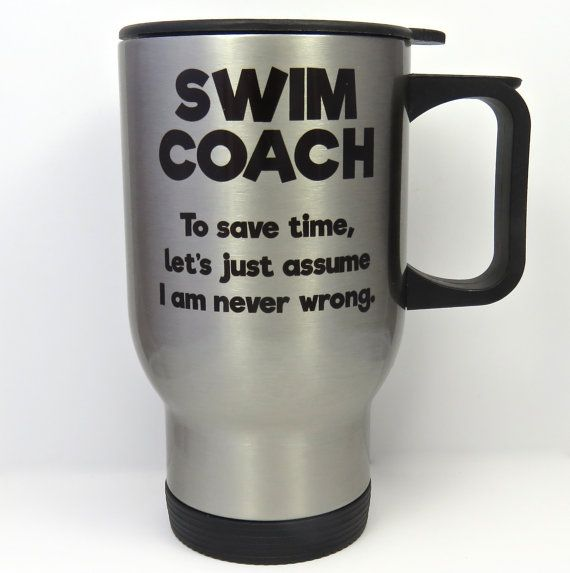 swim coach travel mug swimming coach stainless by QuipsAndGrins