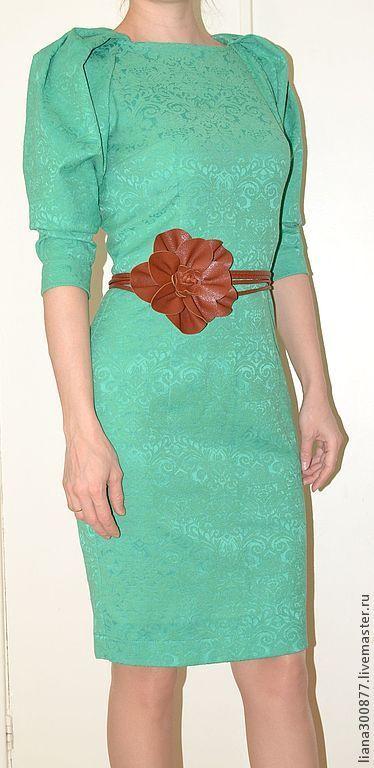 """Купить Платье """"Изумруд"""". - ярко-зелёный, однотонный, хлопок-стрейч, жаккард, застежка молния, реглан"""