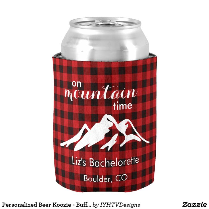 Personalized Beer Koozie - Buffalo Plaid