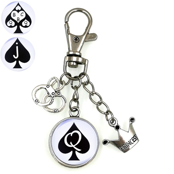 QUEEN OF SPADES SLAVE BBC SWINGER FETISH CUCKOLD CUCK KEYCHAIN ART DOME CAMEO CHOOSE YOUR STYLE KC013