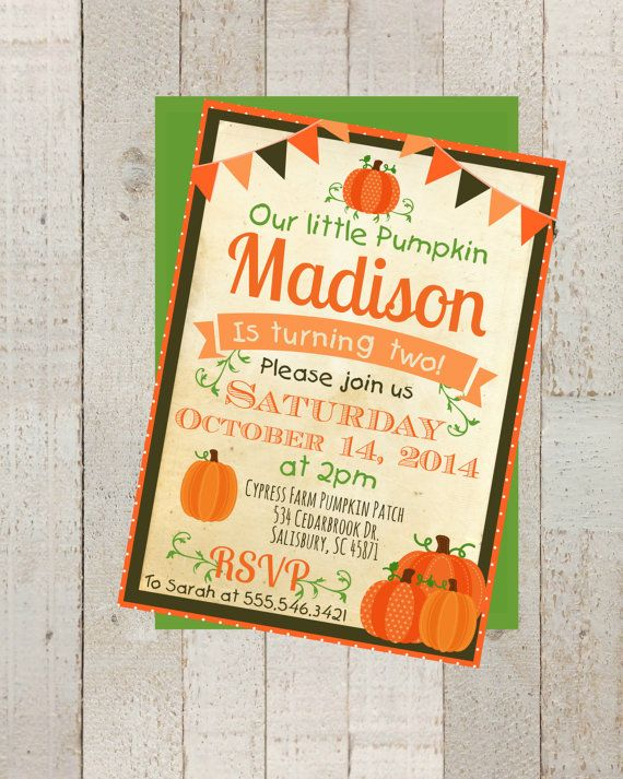 Fall Pumpkin Patch Birthday Invite Digital 5x7 JPEG File (no physical item will be shipped) ********COLOR CHANGE OPTION*********  Add the