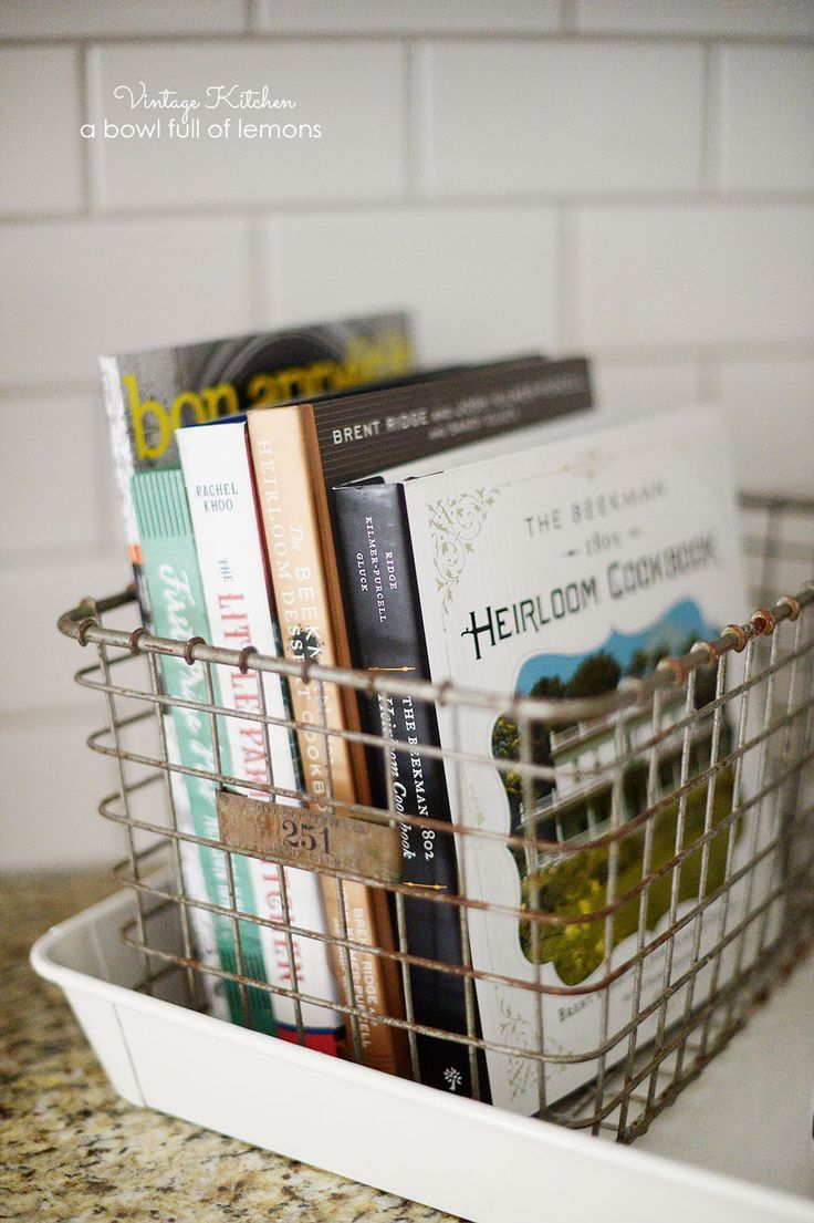 i'm always looking for ways to showcase my growing book collection. This wire basket provides the organization you need and allows viewers to see the book spines.