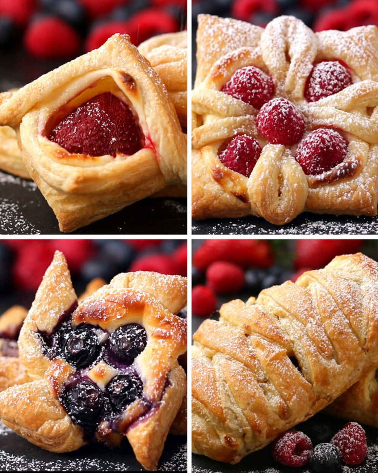 Not a recipe, but four ways to make pretty pastries using frozen puff pastry as a base.
