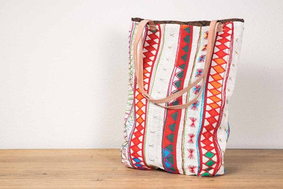 This and more super cute bags from Spain Red white quadrangle aztec tribe woven Tote Bag laptop by cosecose