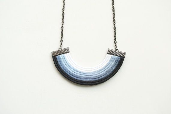 Ombre white grey black geometric necklace satin by elfinadesign