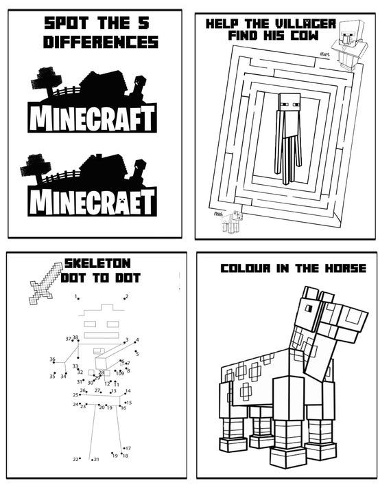 Minecraft 9 Page Printable Puzzle Quiz Colouring Book Ideal