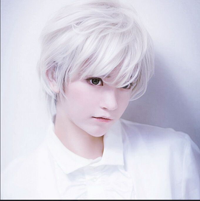 Handsome Boys Mens Short Silver White Cosplay Party Wigs Synthetic