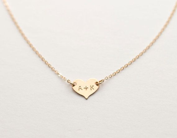 Small Heart Necklace / Delicate Personalized Gold Heart Necklace, 14k Gold Fill or Sterling Silver / Initial Necklace / Monogram Necklace