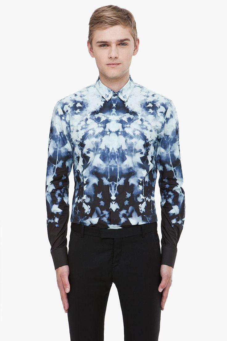 ALEXANDER MCQUEEN Blue Leaf Print Shirt
