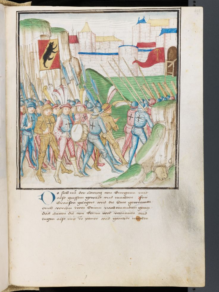 Illus 611 The main power of the Bernese people moves to Murten to expose their people to Grandson, 1476. Bern, Burgerbibliothek, Mss.h.h.I.3 Parchment · 472 ff. · 38 x 27.5–28 cm · Bern · 1478-1483 Diebold Schilling, Amtliche Berner Chronik, vol. 3