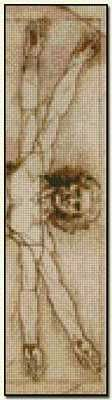 Virtruvian Man Bookmark - Leonardo da Vinci Fine art cross stitch pattern. Color chart available. http://www.artofstitching.com/index.php?main_page=product_info&cPath=45_56&products_id=440