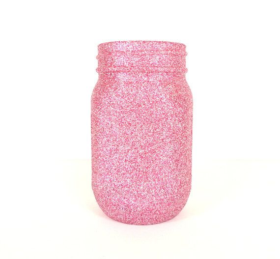 Silver and Pink Blend Glittered Pint Mason by janetwhatmandesigns