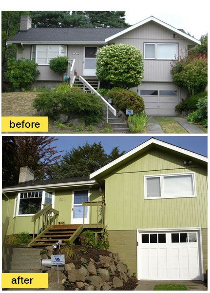 1000 images about before and after exterior makeovers on for Split level remodel before and after