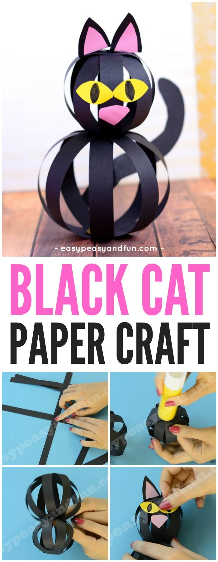 Black Cat Craft for Kids with Paper Strips