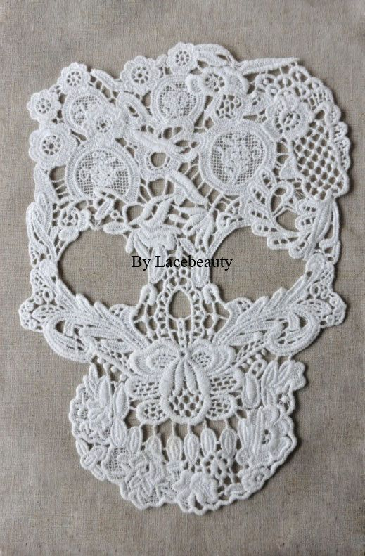 Big Skull Appliques Cool Milk White Punk Lace Patch Floral Cotton Embroidered Appliques 1pcs