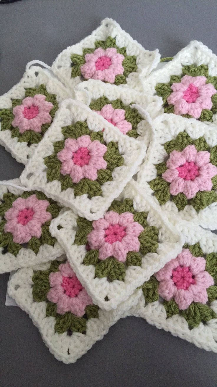 A personal favourite from my Etsy shop https://www.etsy.com/uk/listing/530188197/crochet-granny-squares-in-cream-green
