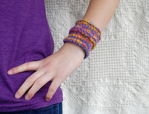 Women's Spring Knit Bracelet  Purple Yellow by BohemianJubileeBracelets Purple, Bohemianjubile, 850, Woman, Purple Yellow, 8 50, Spring Knits, Women Spring, Knits Bracelets