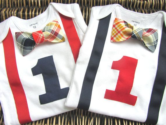 Twin Boys First Birthday Outfit - Baby Boy Clothes - Navy or Red Suspenders and Red Navy Blue Orange Plaid Bow Tie - Birthday Number Onesie