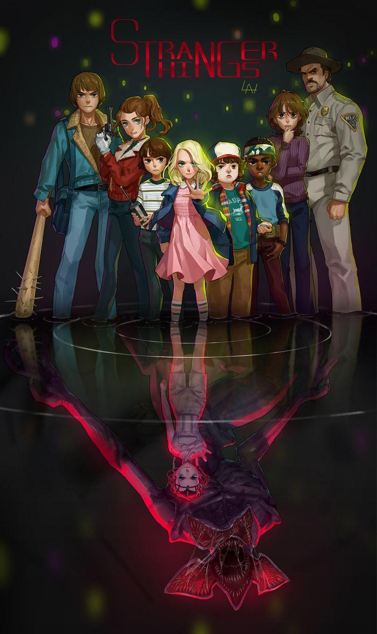 The Gang. Eleven, Mike, Dustin, Lucas, Joyce, Jonathan, Nancy, Hopper. SEASON.1