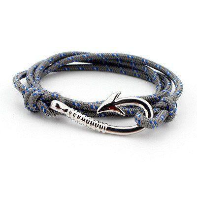 Sliver Plated Fish Hook and Rope Men's Bracelet [8 Variations]