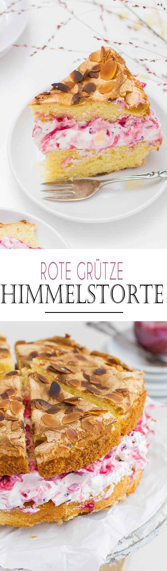 Berry Compott Almond Cake with Vanilla Cream and Meringue // Rote Grütze Himmelstorte