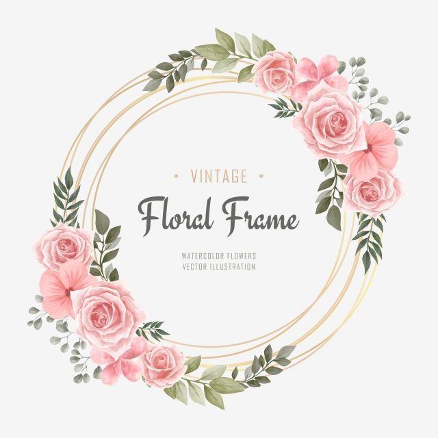 Watercolor Wedding Watercolor Flowers Flower Frame Adobe Illustrator Gold Pattern Gold Invitations File Form In 2020 Wasserfarbenblumen Muster Blume Blumenrahmen