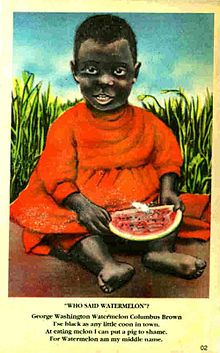 TIL that watermelon became a stereotype for black people because free black slaves grew and ate it and it became a symbol of their freedom.