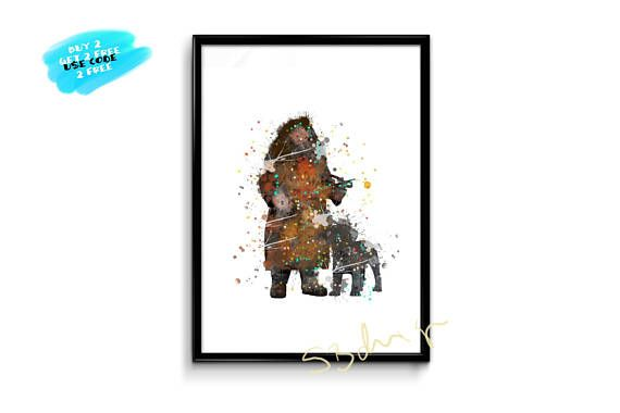 Harry Potter Watercolor Poster Hagrid Poster Hagrid Watercolor