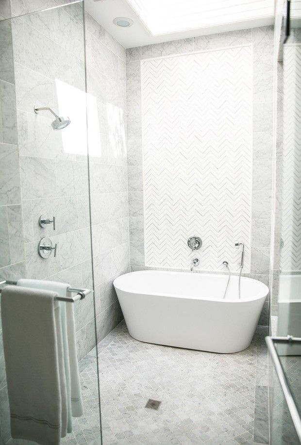 Walk in shower with a bathtub in a Master Bathroom by Amy Berry, House Beautiful Next Wave interior designer